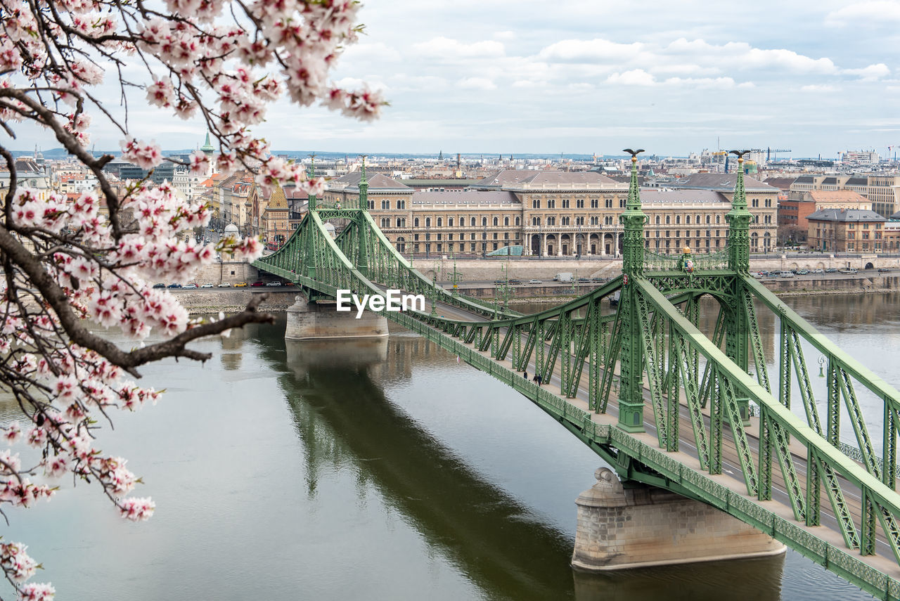 Bridge over river in city against sky with almond blossom