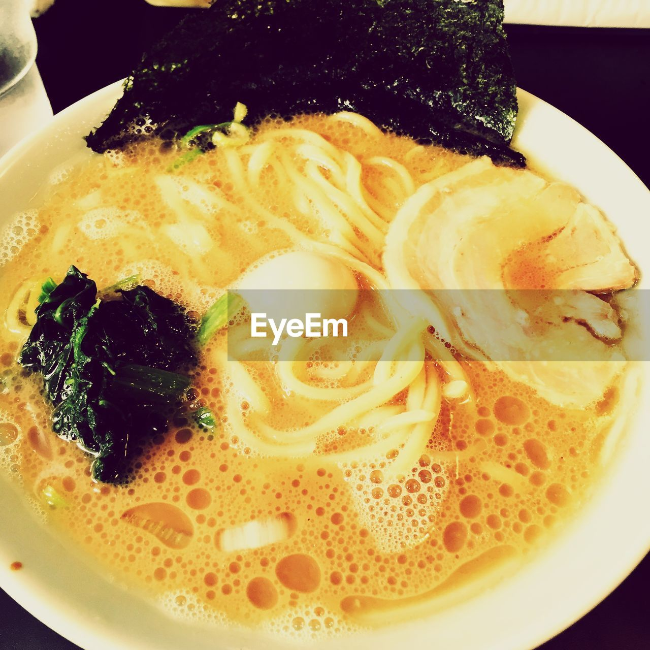High Angle View Of Ramen In Bowl