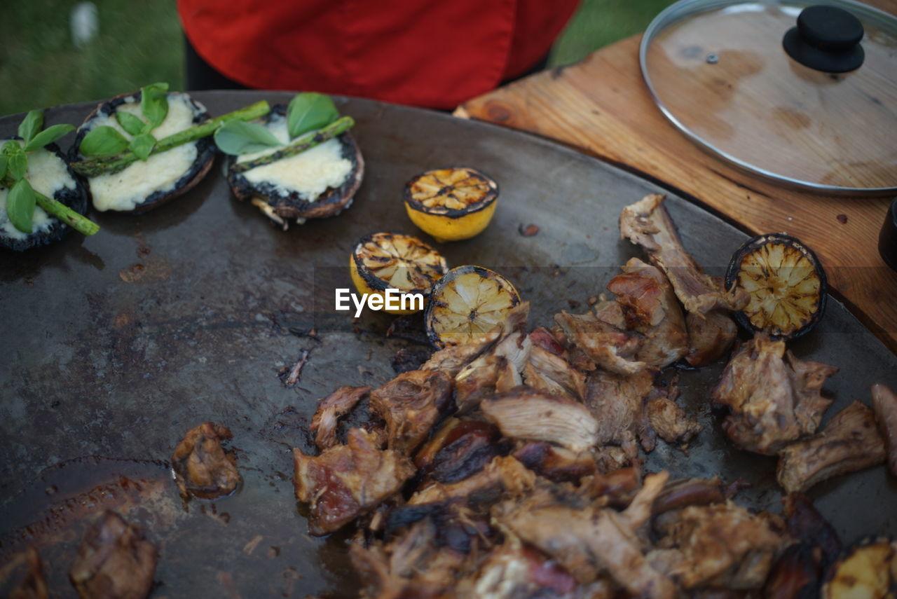 Midsection Of Man Cooking Meat On Muurikka Pan