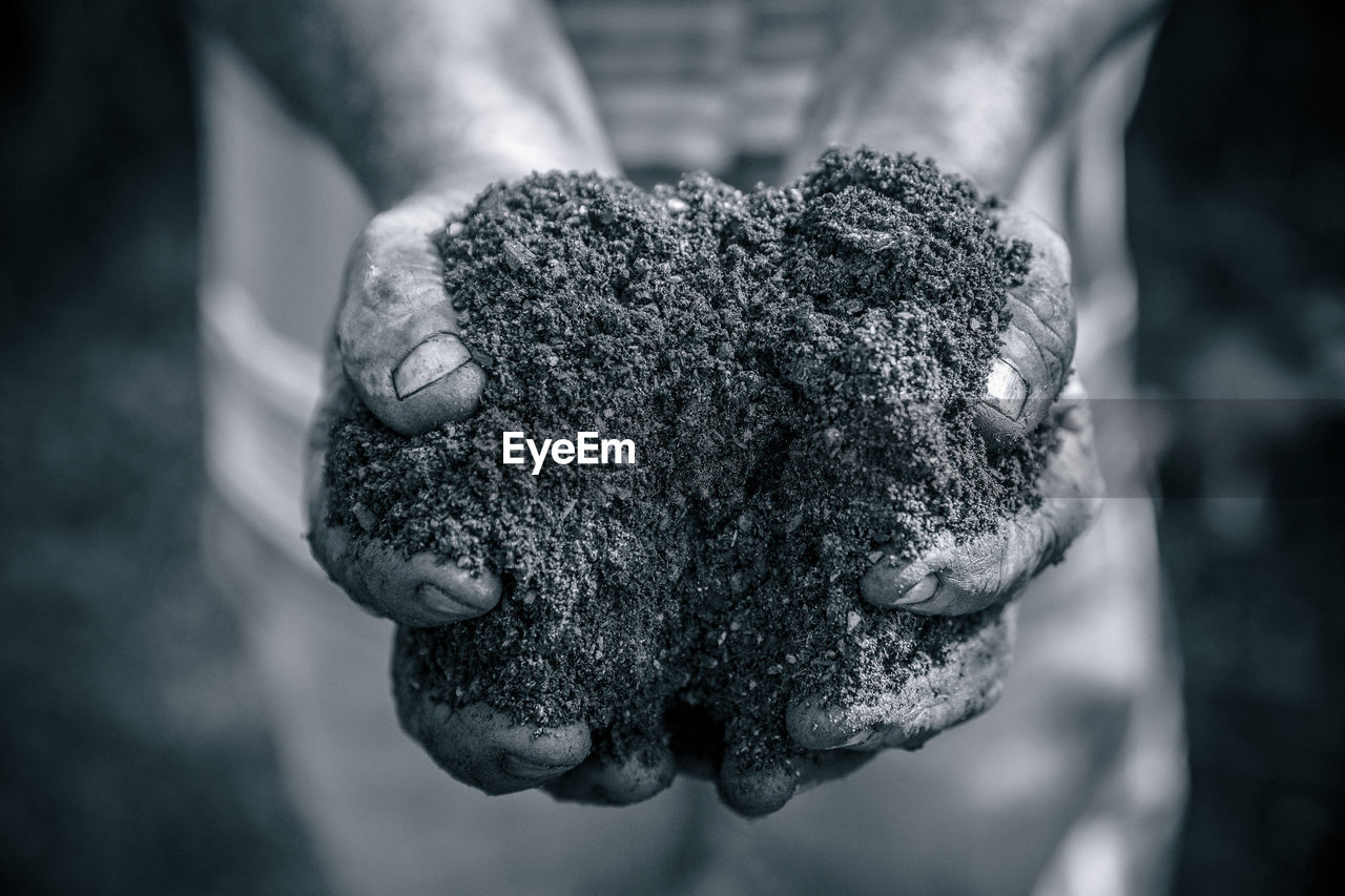 Midsection of man holding soil