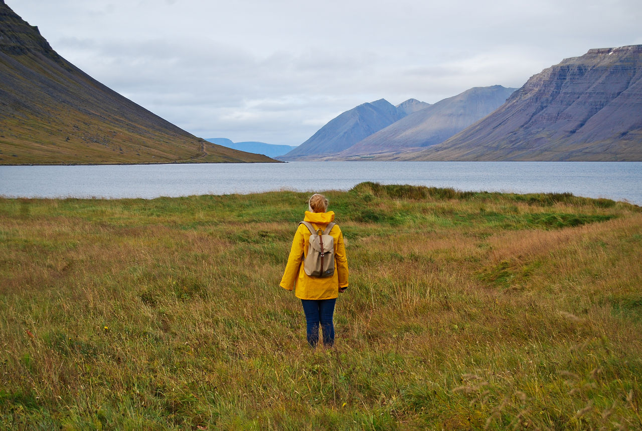 Rear View Of Person Standing On Grassy Field By Lake Against Cloudy Sky