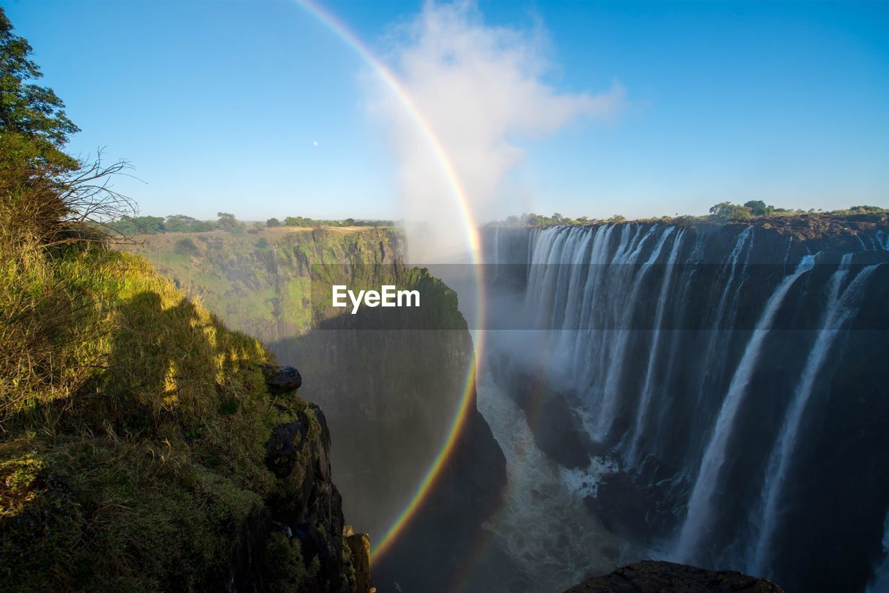 scenics - nature, beauty in nature, rainbow, water, motion, waterfall, long exposure, non-urban scene, nature, sky, idyllic, double rainbow, tree, tranquil scene, flowing water, environment, plant, day, no people, power in nature, outdoors, flowing