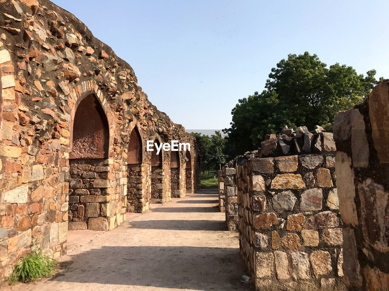 architecture, built structure, history, the past, direction, sky, the way forward, arch, nature, old, wall, no people, ancient, tree, stone wall, plant, sunlight, clear sky, building, day, outdoors, diminishing perspective, ancient civilization