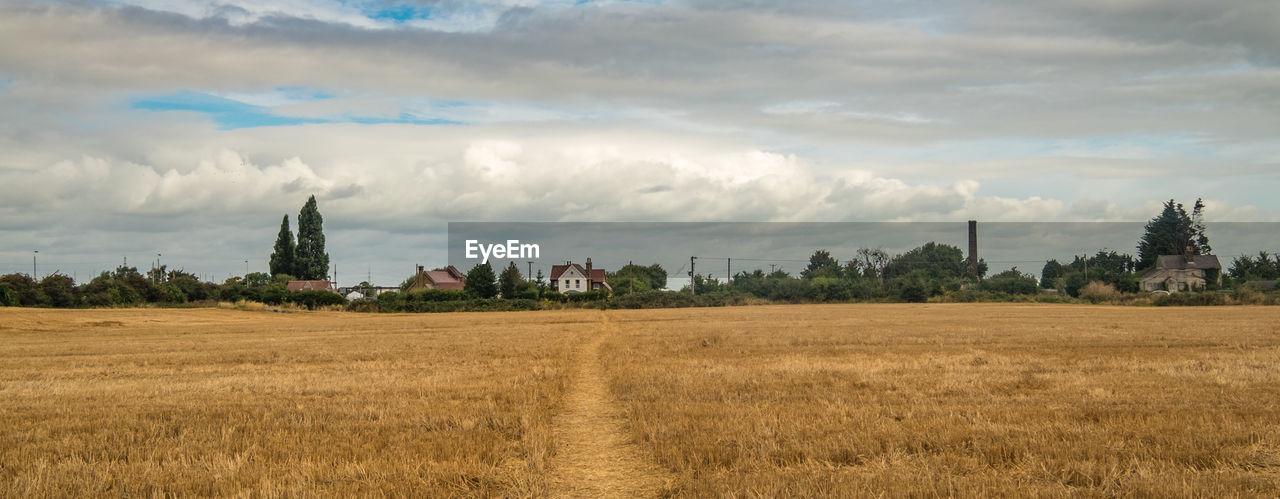 Rural Landscape Against Cloudy Sky