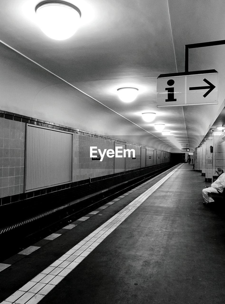 Interior Of Illuminated Underground Subway Station