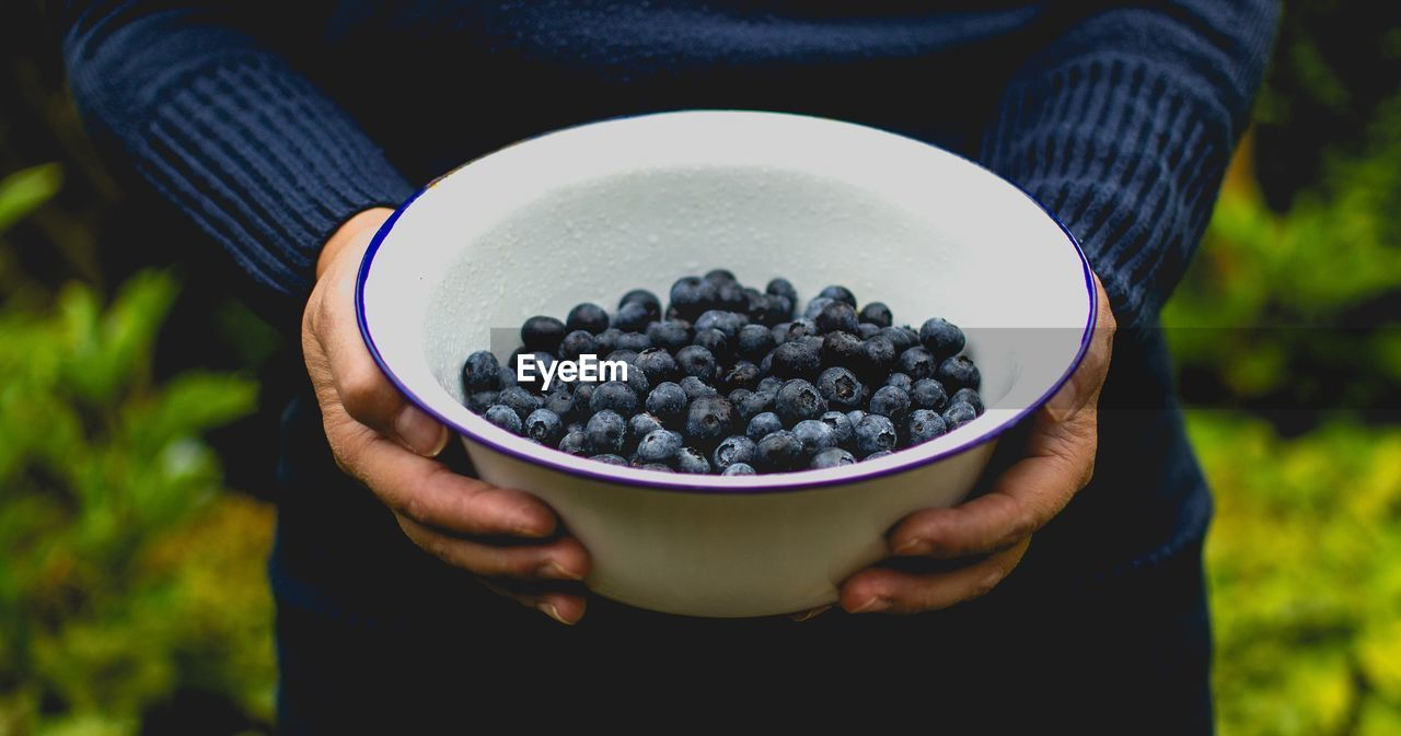 Close-Up Of Man Holding Blueberries In Bowl