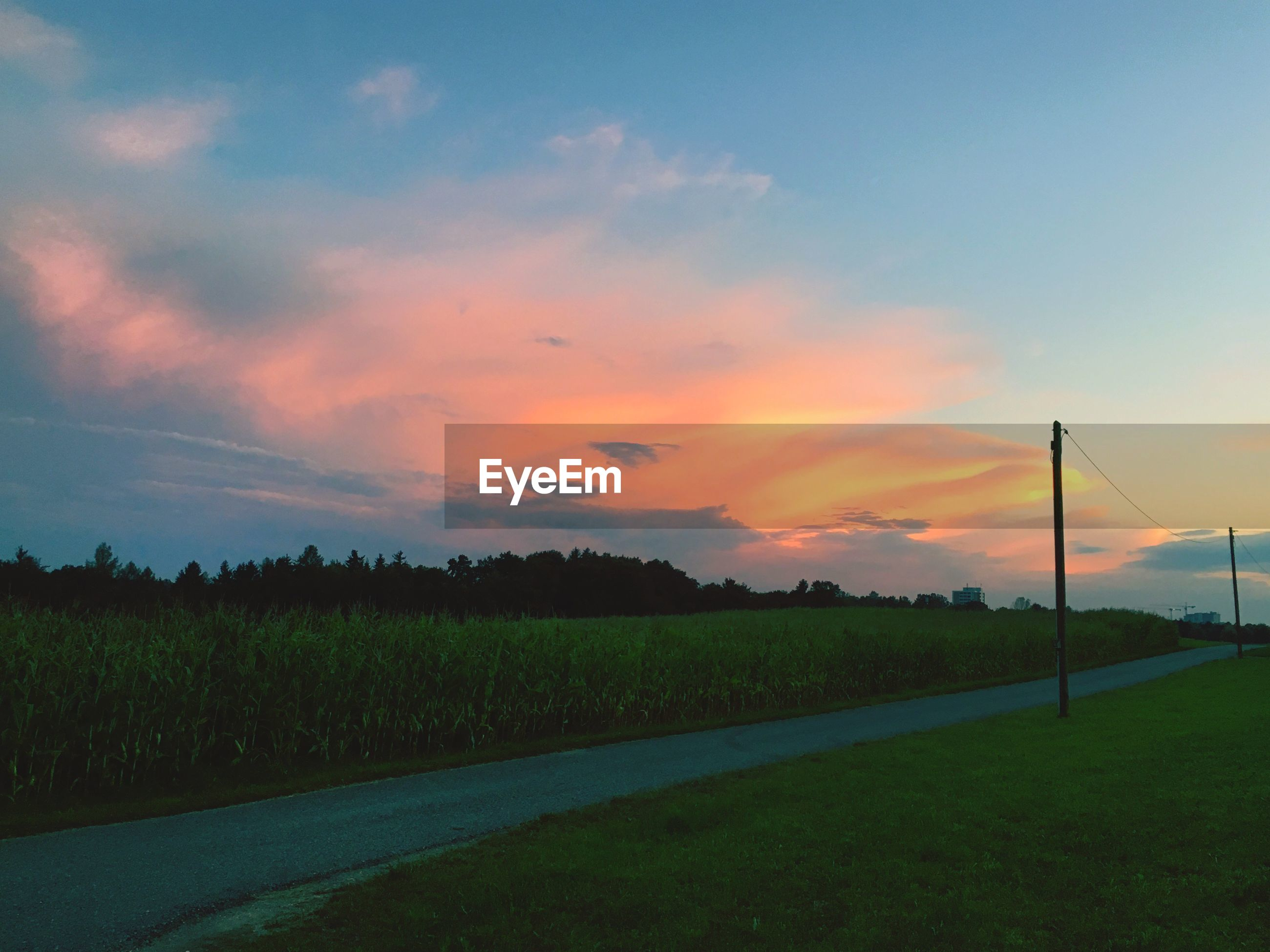 landscape, road, sunset, tranquil scene, transportation, scenics, tranquility, field, sky, beauty in nature, the way forward, nature, country road, cloud, outdoors, non-urban scene, cloud - sky, empty road, blue, rural scene, remote, countryside, solitude, long, diminishing perspective, farm