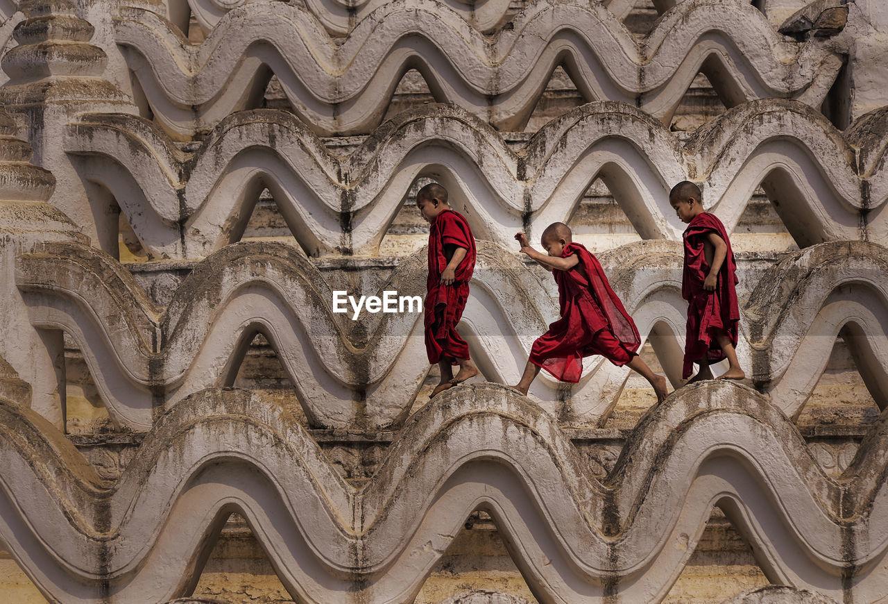 Monks Walking On Temple