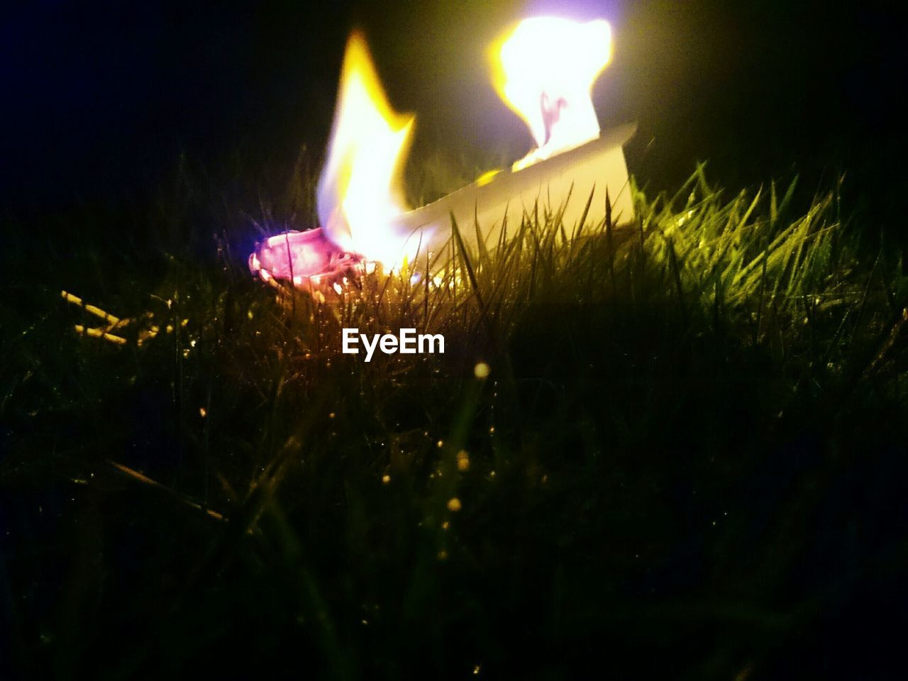 burning, night, flame, glowing, illuminated, celebration, heat - temperature, no people, selective focus, close-up, outdoors, diwali, diya - oil lamp, grass