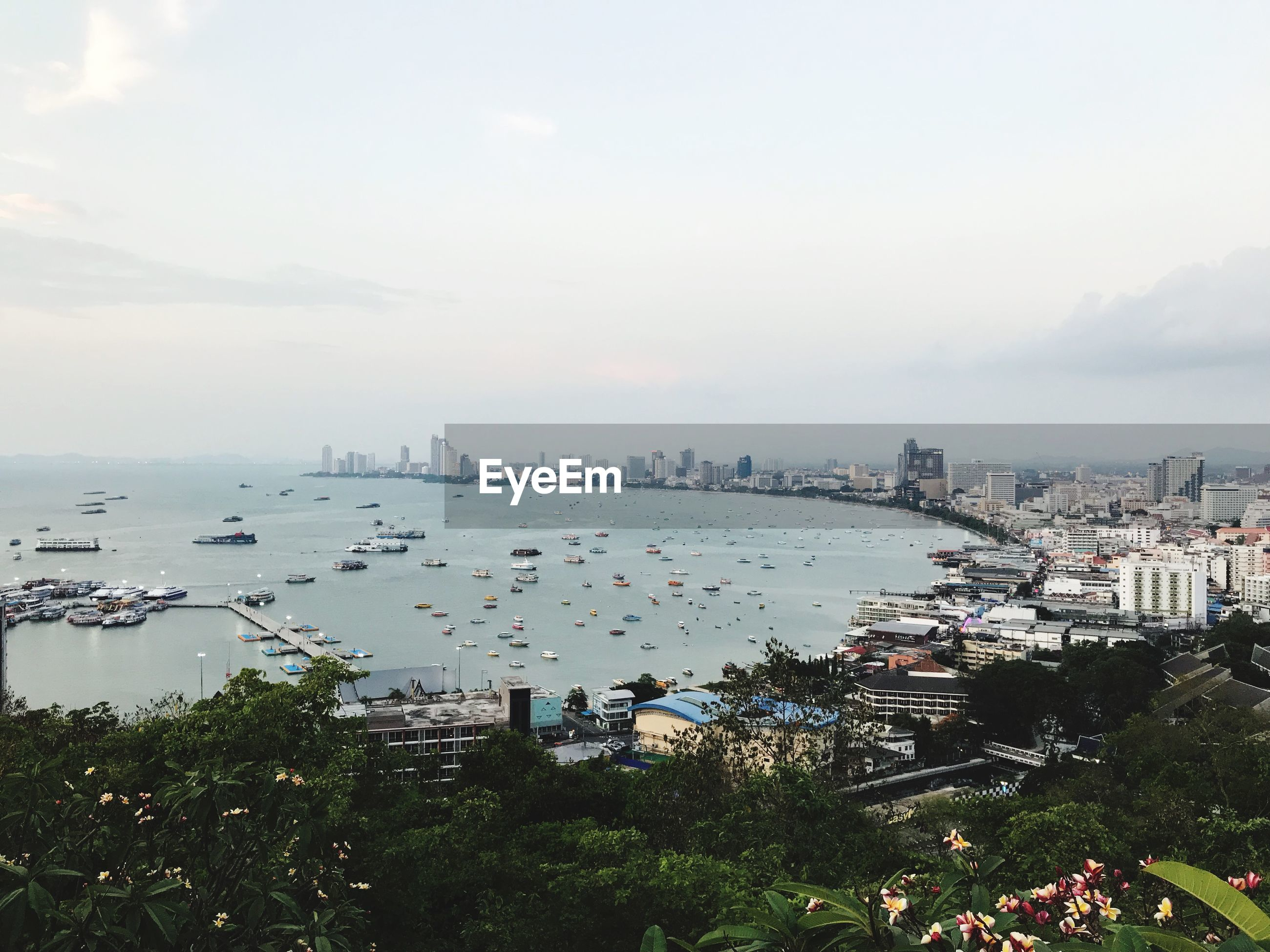 HIGH ANGLE VIEW OF CITY BUILDINGS AND SEA