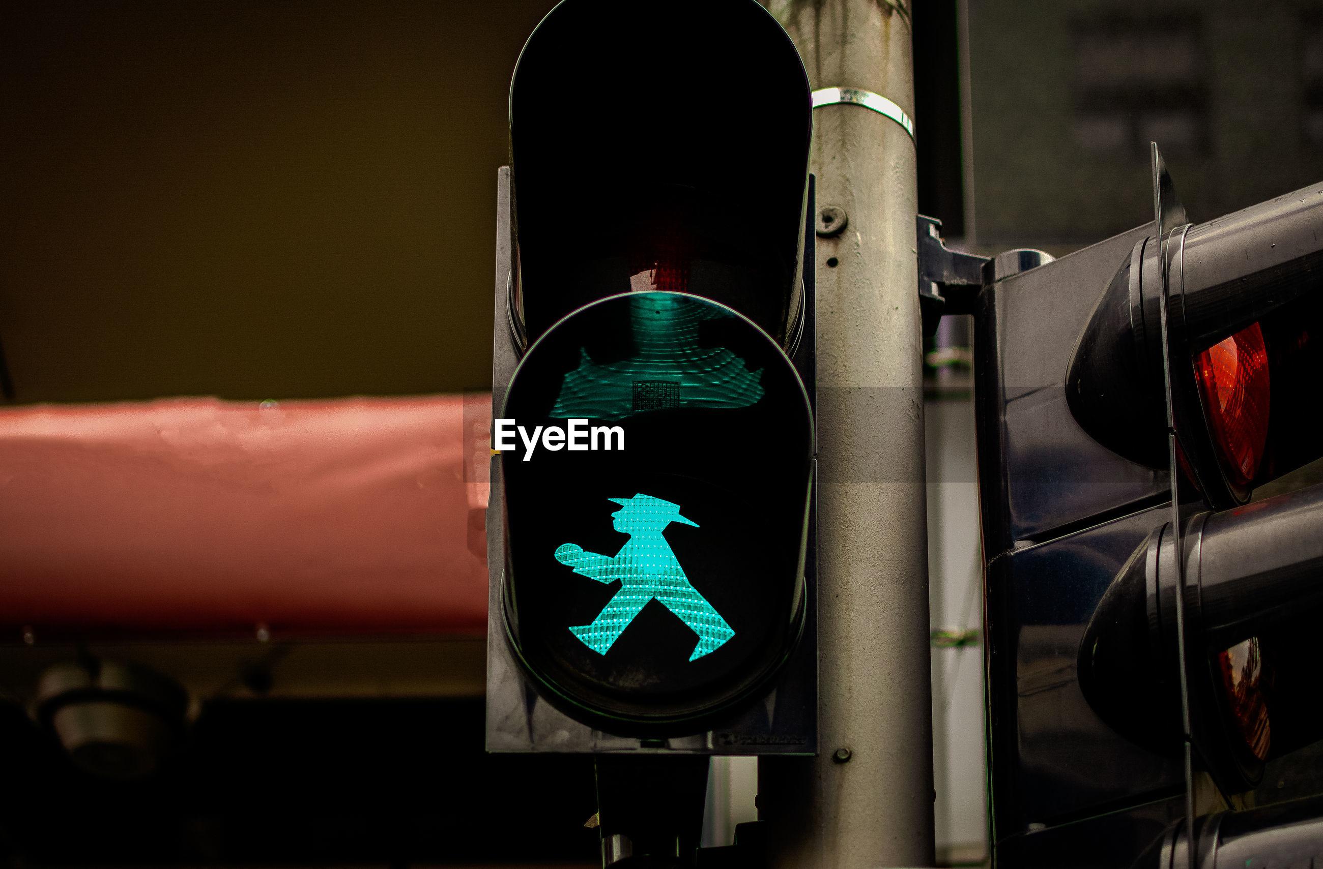 Close-up of road signal