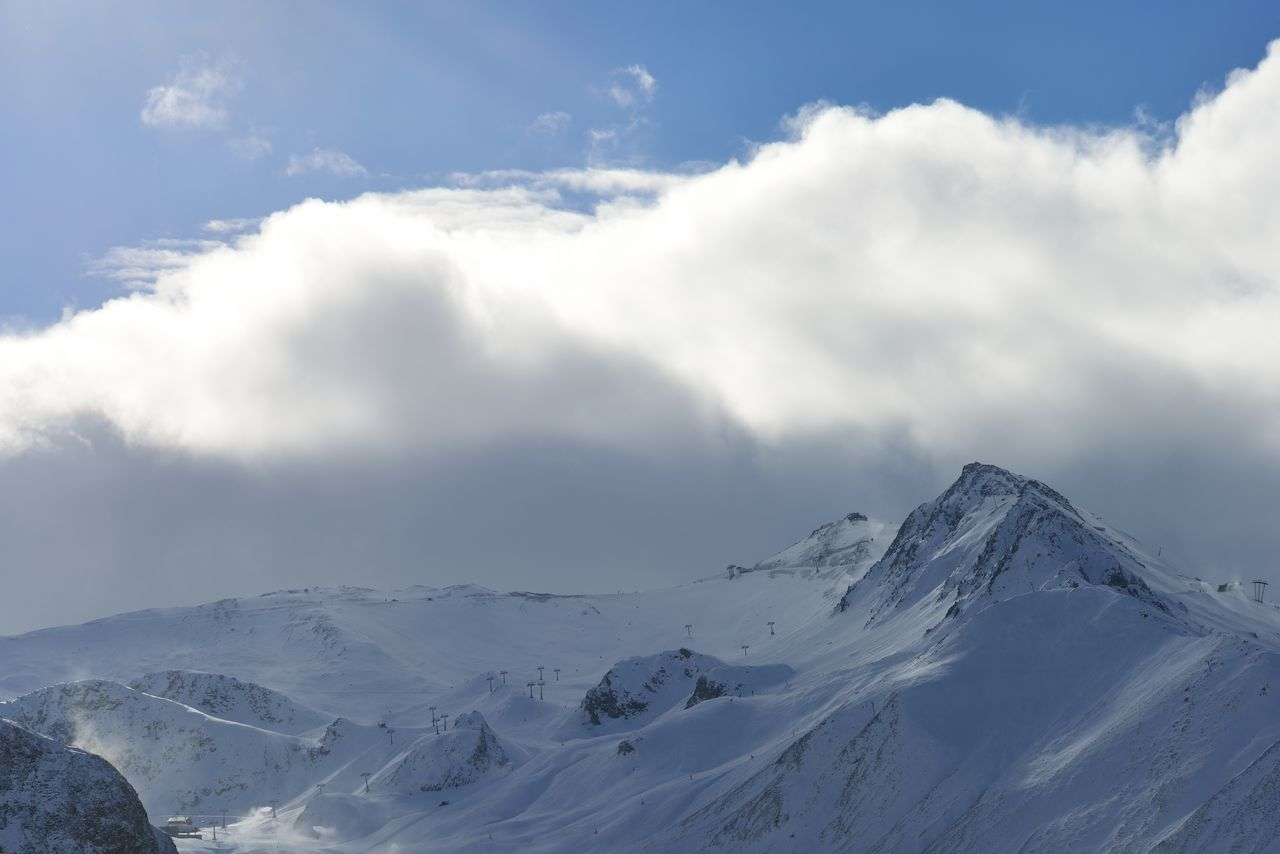 cloud - sky, sky, beauty in nature, cold temperature, scenics - nature, winter, mountain, snow, tranquil scene, tranquility, snowcapped mountain, white color, non-urban scene, environment, day, nature, no people, landscape, idyllic, mountain peak