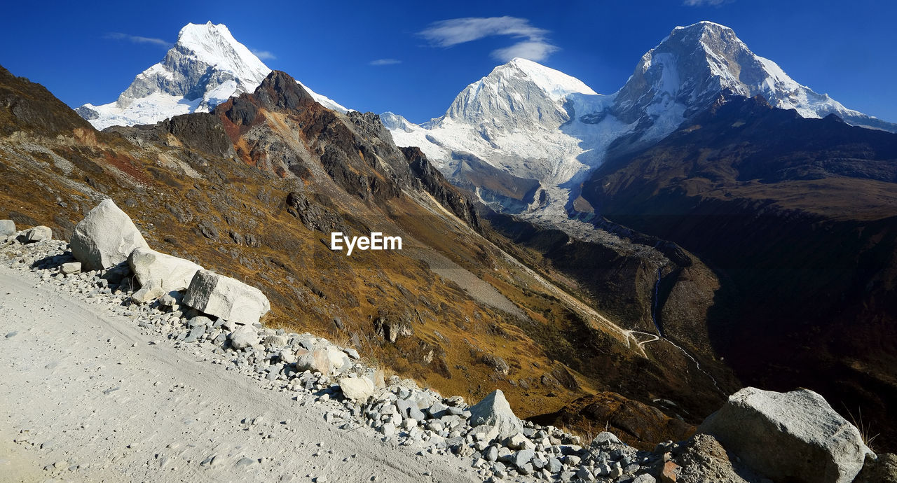 Mountain Peaks With Stones Against Sky