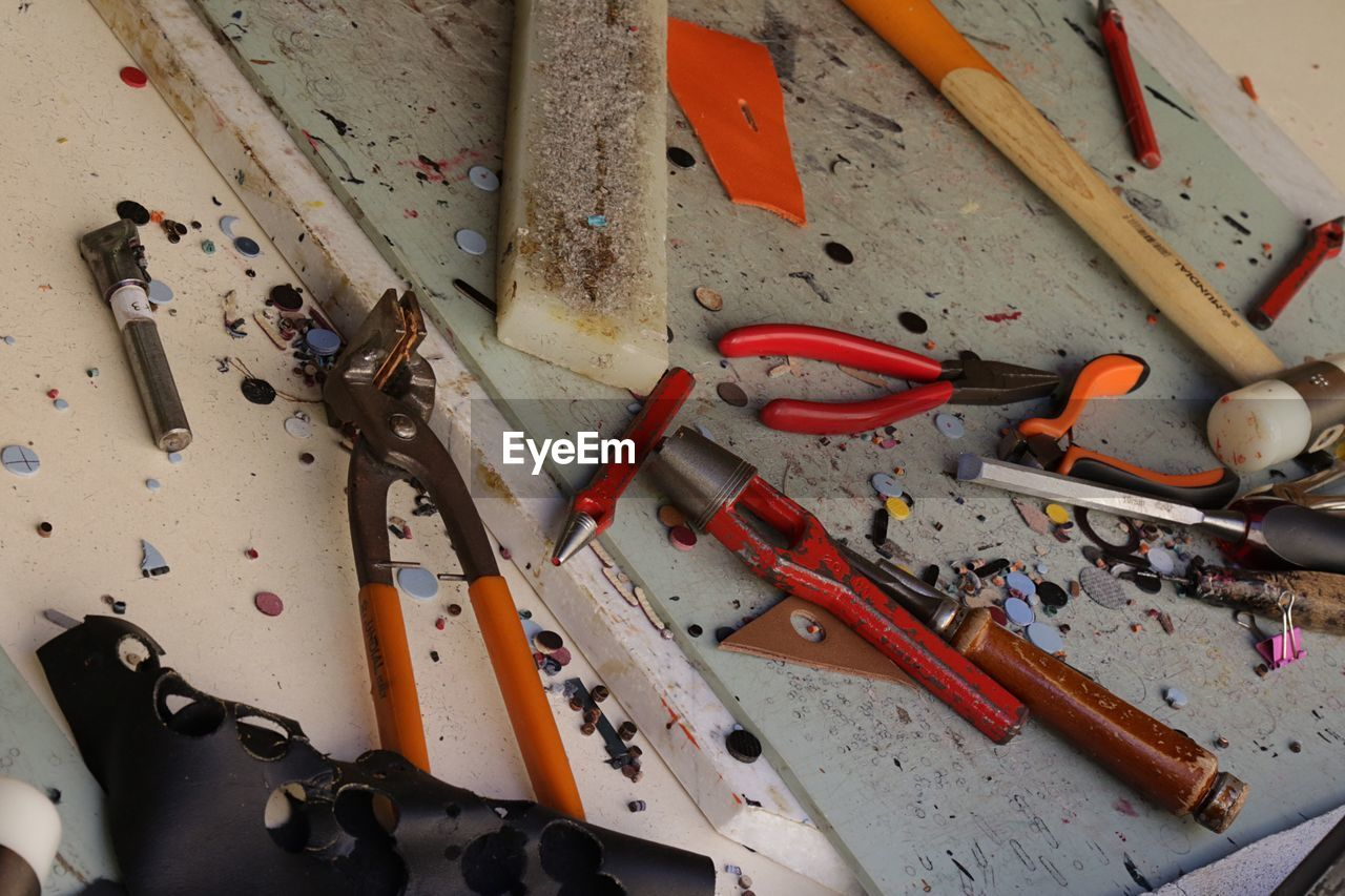 High Angle View Of Hand Tools On Table