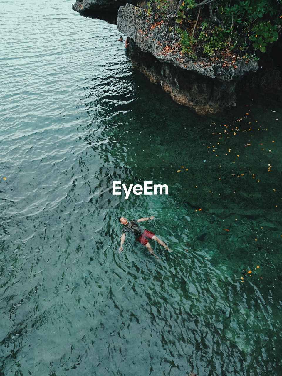 High Angle View Of Man Swimming In Sea