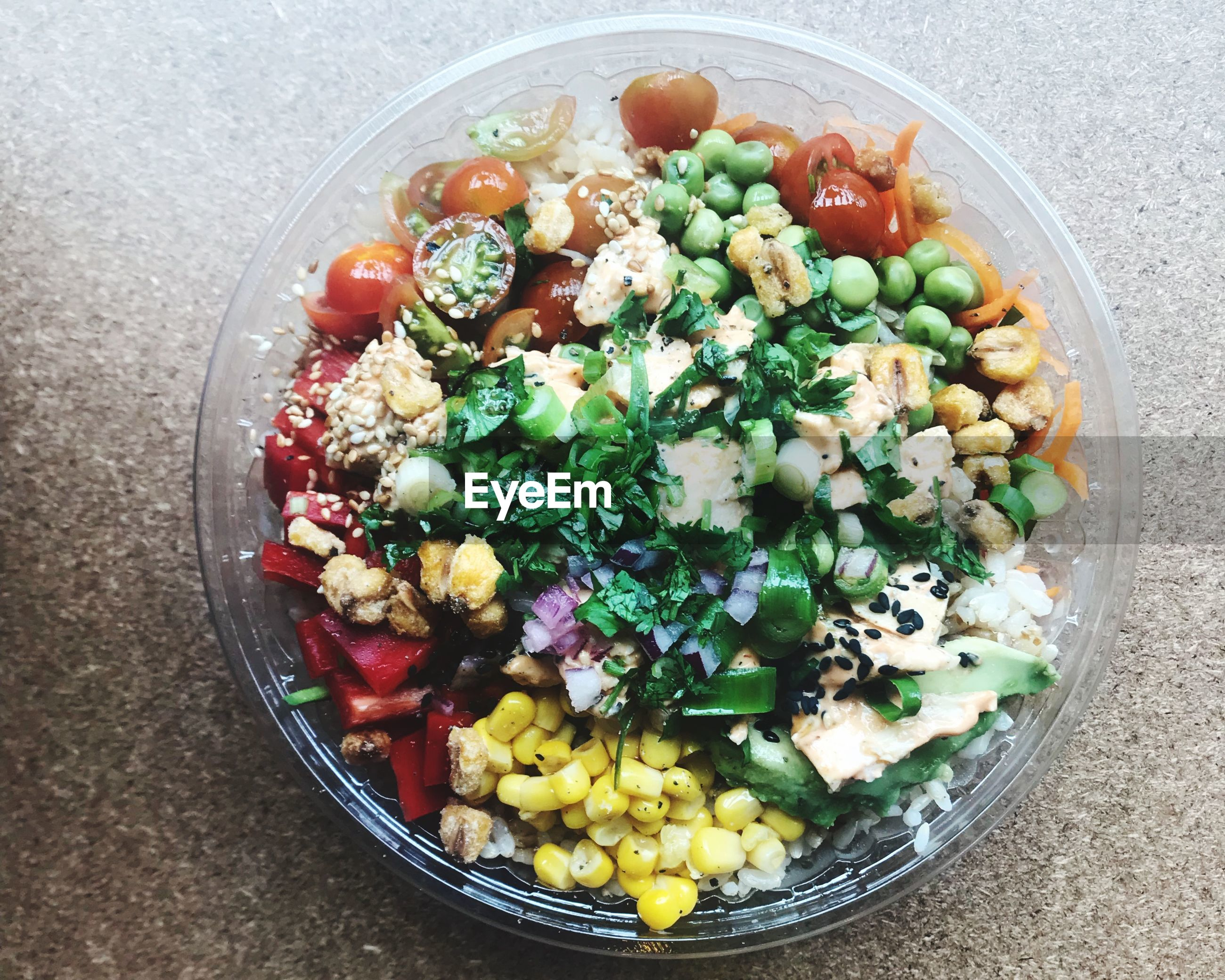 bowl, healthy eating, high angle view, food and drink, freshness, food, salad, directly above, vegetable, no people, indoors, ready-to-eat, close-up, multi colored, day