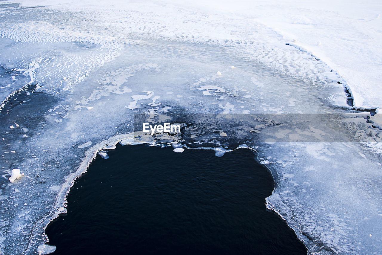 Full Frame Shot Of Cracked Ice On Frozen Lake