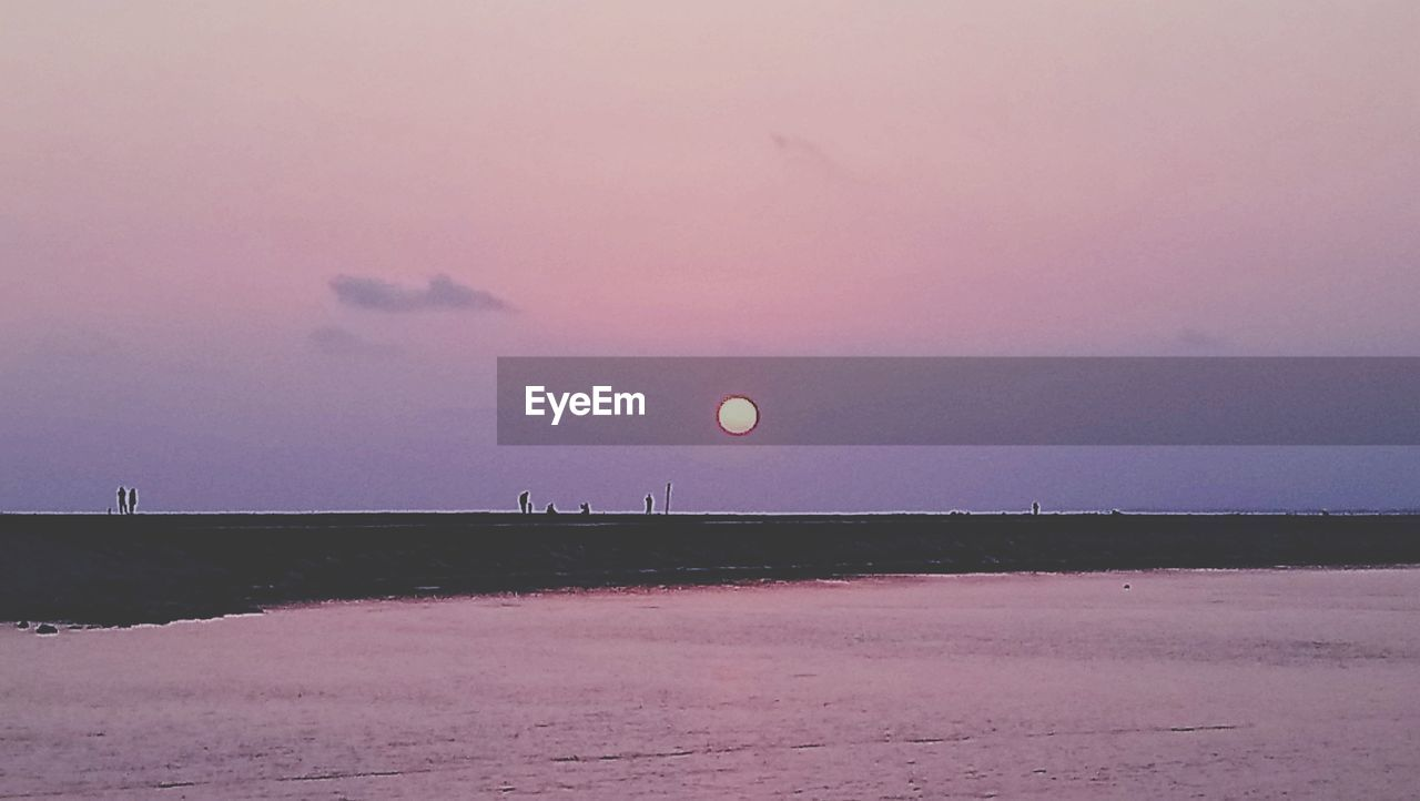 sky, sunset, beauty in nature, nature, tranquil scene, tranquility, scenics - nature, land, moon, landscape, dusk, no people, non-urban scene, water, environment, idyllic, outdoors, sea, field, pink color, purple