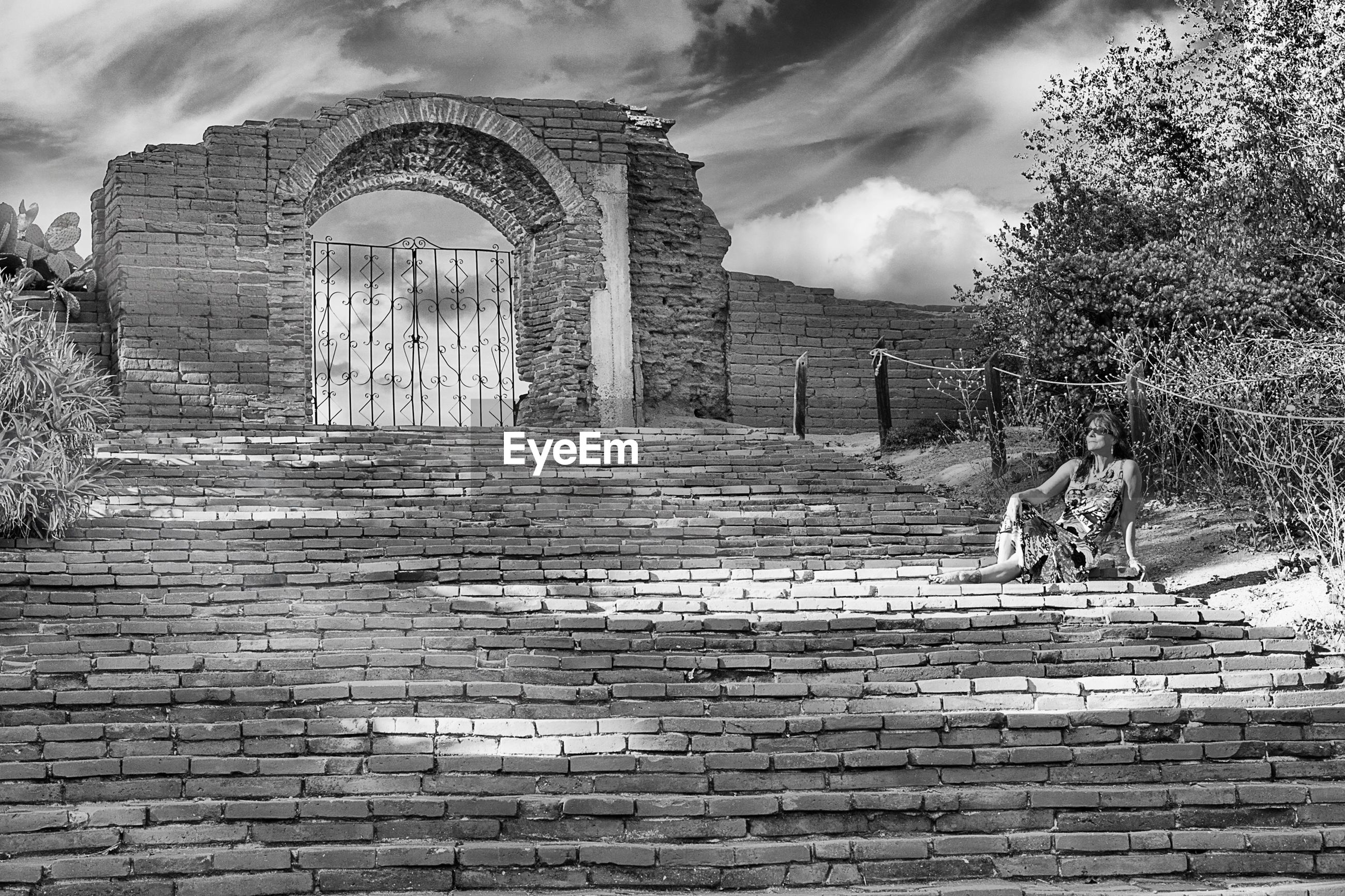 architecture, built structure, sky, building exterior, tree, cloud - sky, brick wall, stone wall, arch, day, wall - building feature, gate, outdoors, cloud, old, entrance, cloudy, steps, plant, low angle view