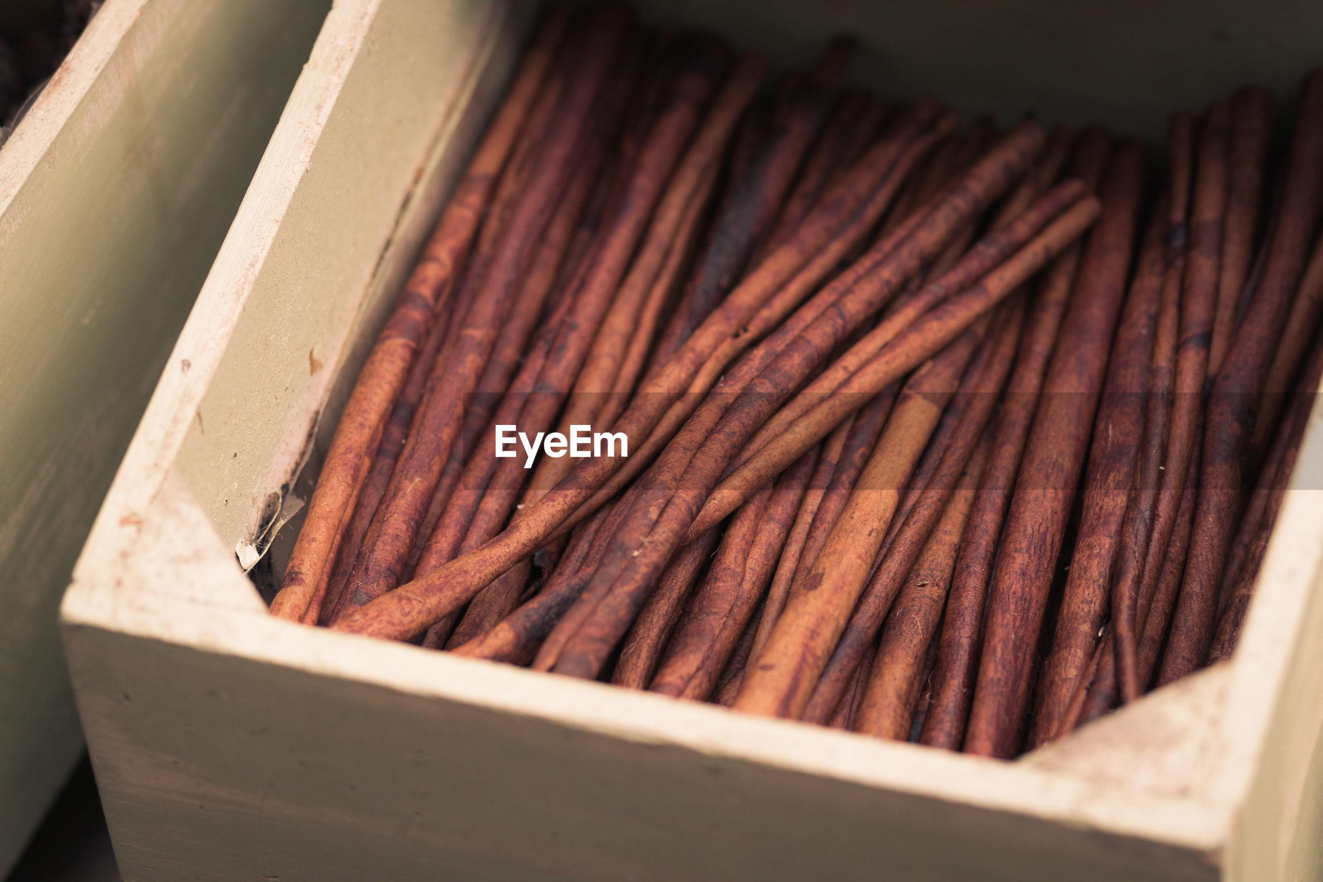 High angle view of cinnamon stick