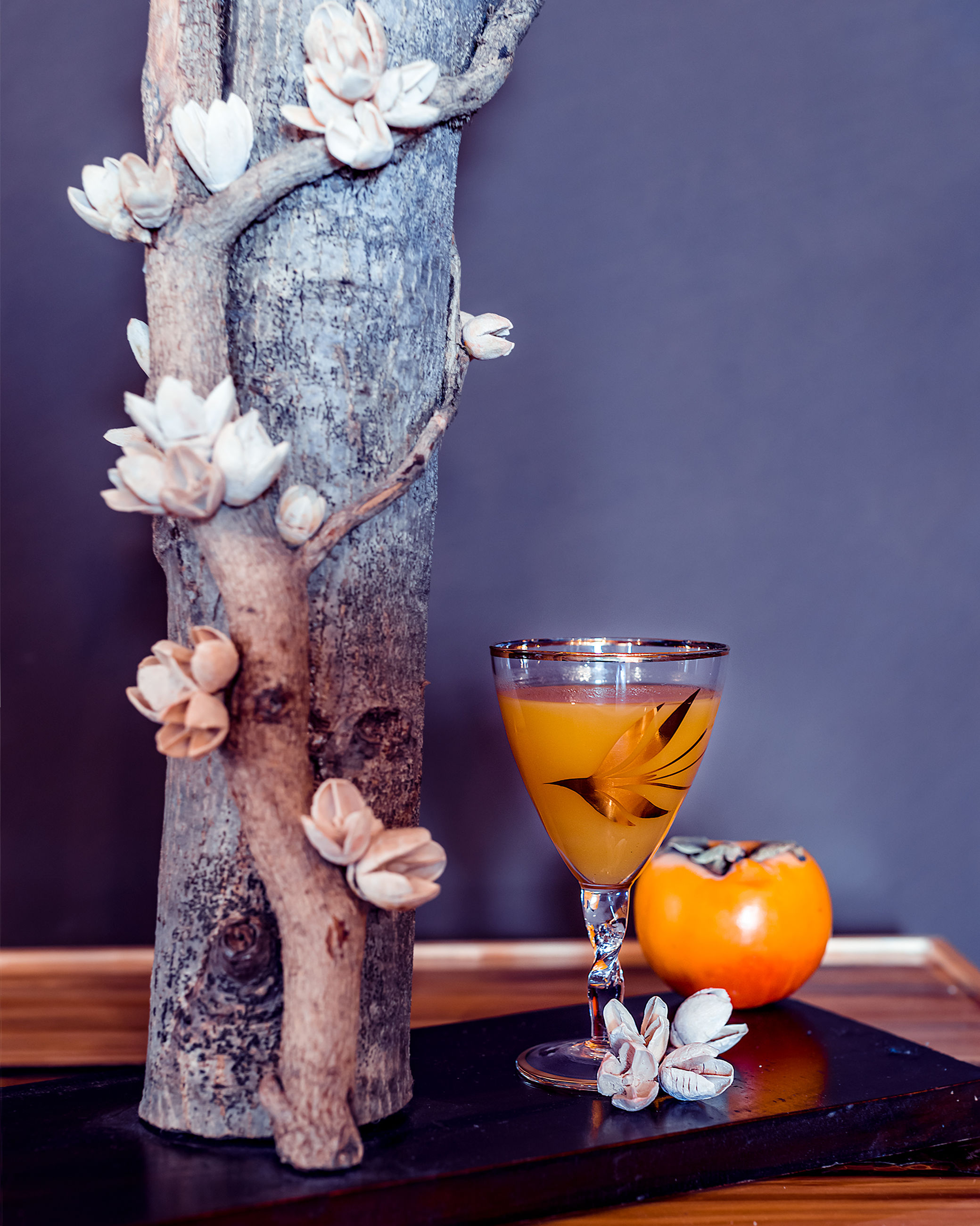 Close-up of food and drink by decoration on table