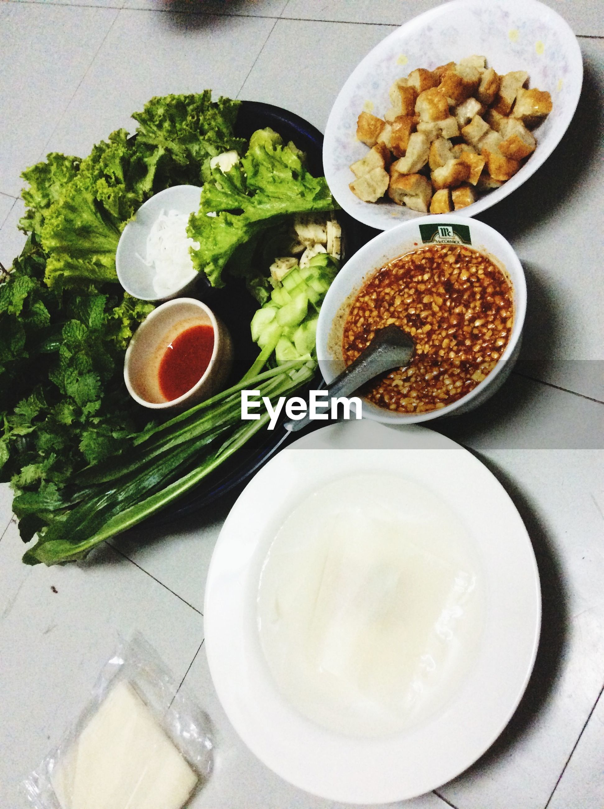 food and drink, food, freshness, indoors, ready-to-eat, plate, healthy eating, table, high angle view, still life, serving size, bowl, directly above, meal, spoon, drink, breakfast, bread, refreshment, indulgence