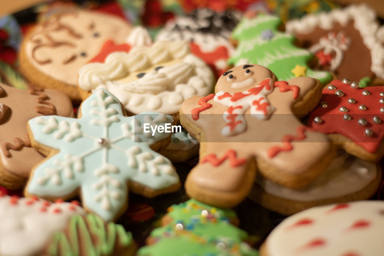 HIGH ANGLE VIEW OF COOKIES ON PLATE