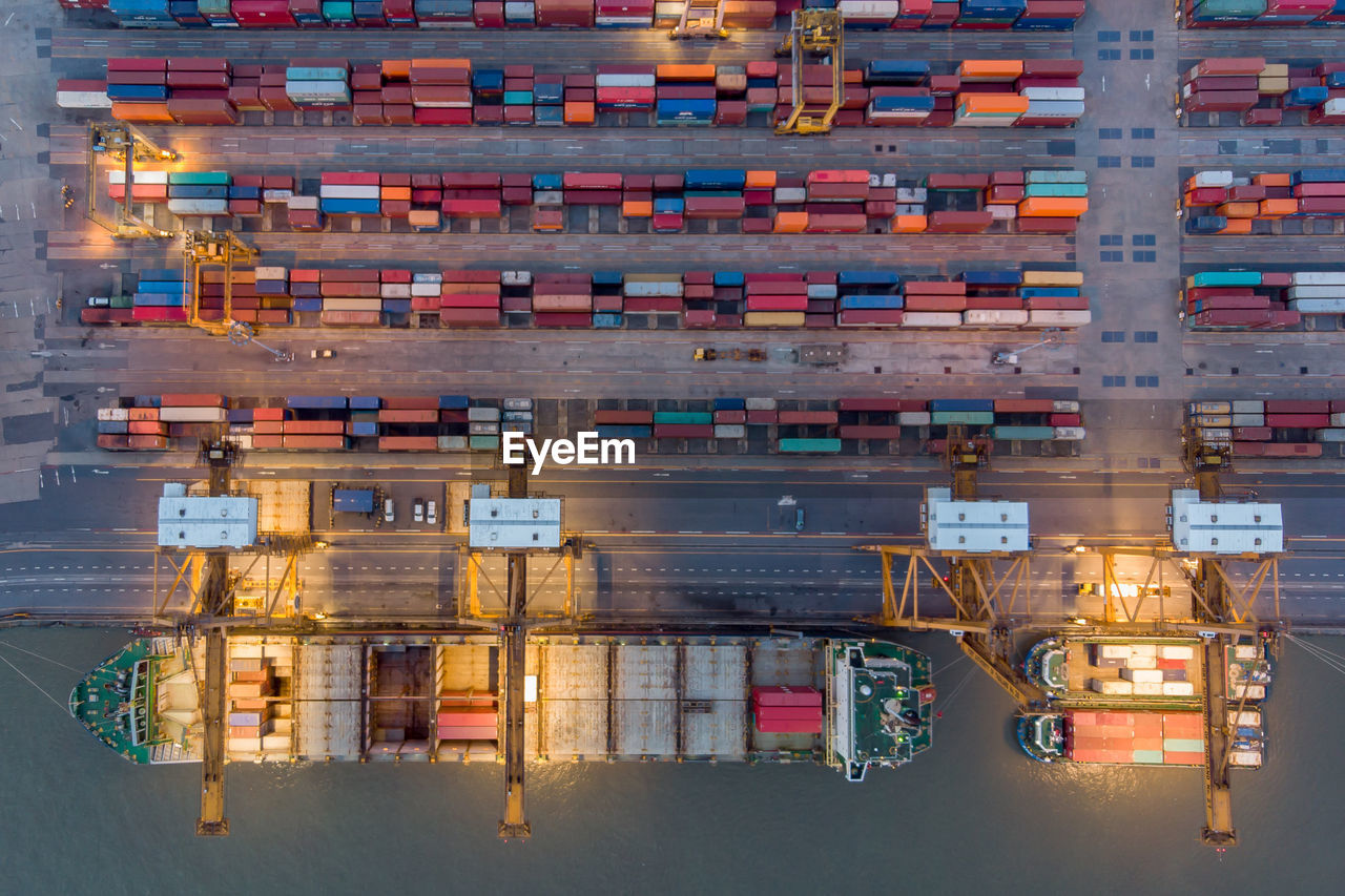 High angle view of freight transportation