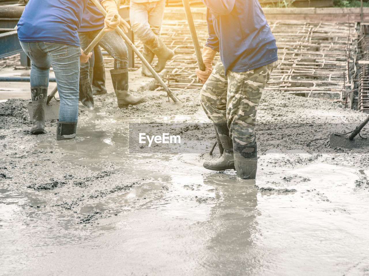 water, working, men, occupation, adult, nature, low section, standing, construction site, people, construction industry, day, industry, environment, sunlight, outdoors, mature men, rubber boot, flowing water