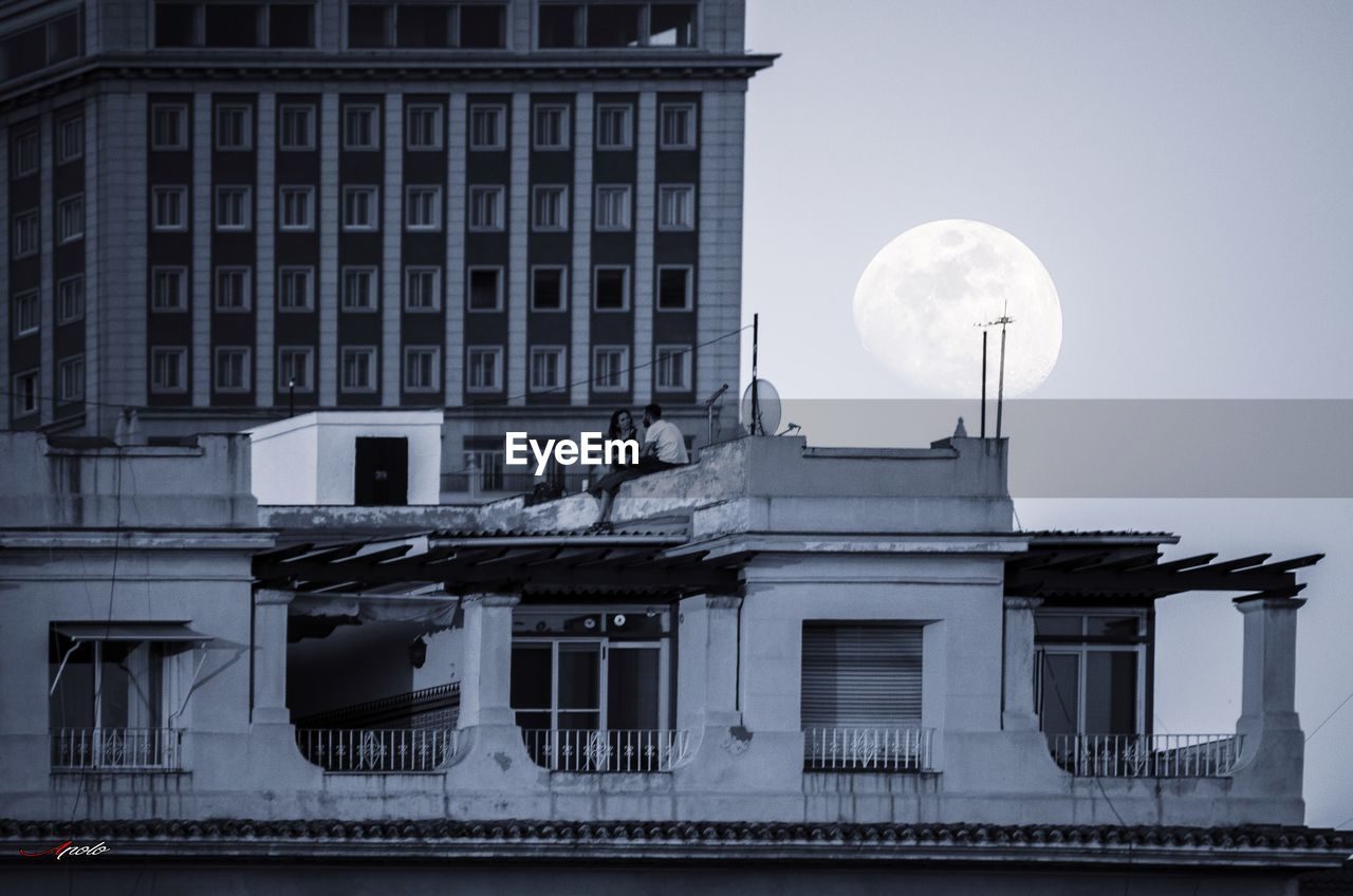 architecture, moon, building exterior, built structure, no people, outdoors, sky, day