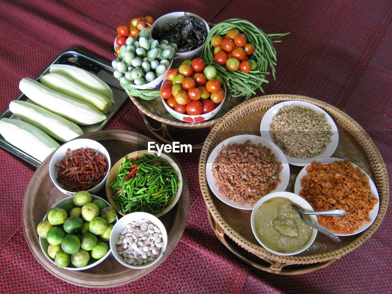 High Angle View Of Vegetables And Ingredients On Table