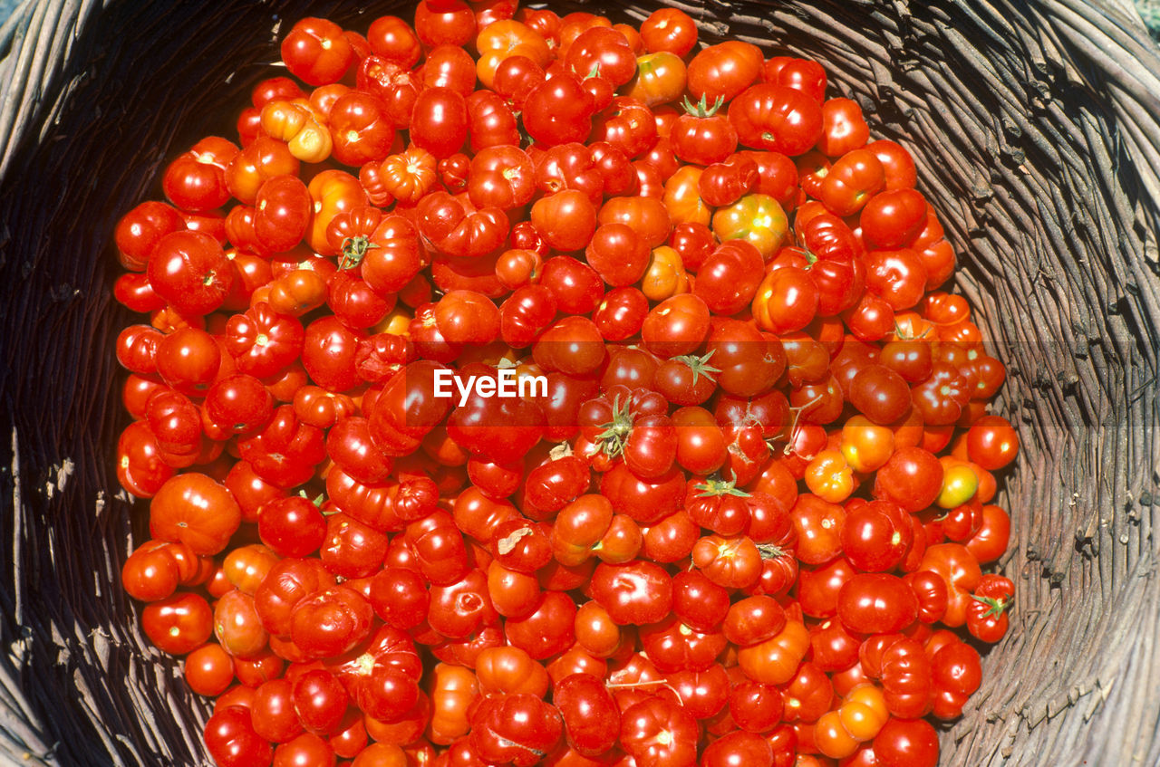 Close-Up Of Tomatoes In Wicker Basket