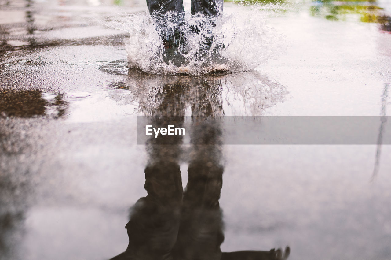 Reflection of person splashing in puddle