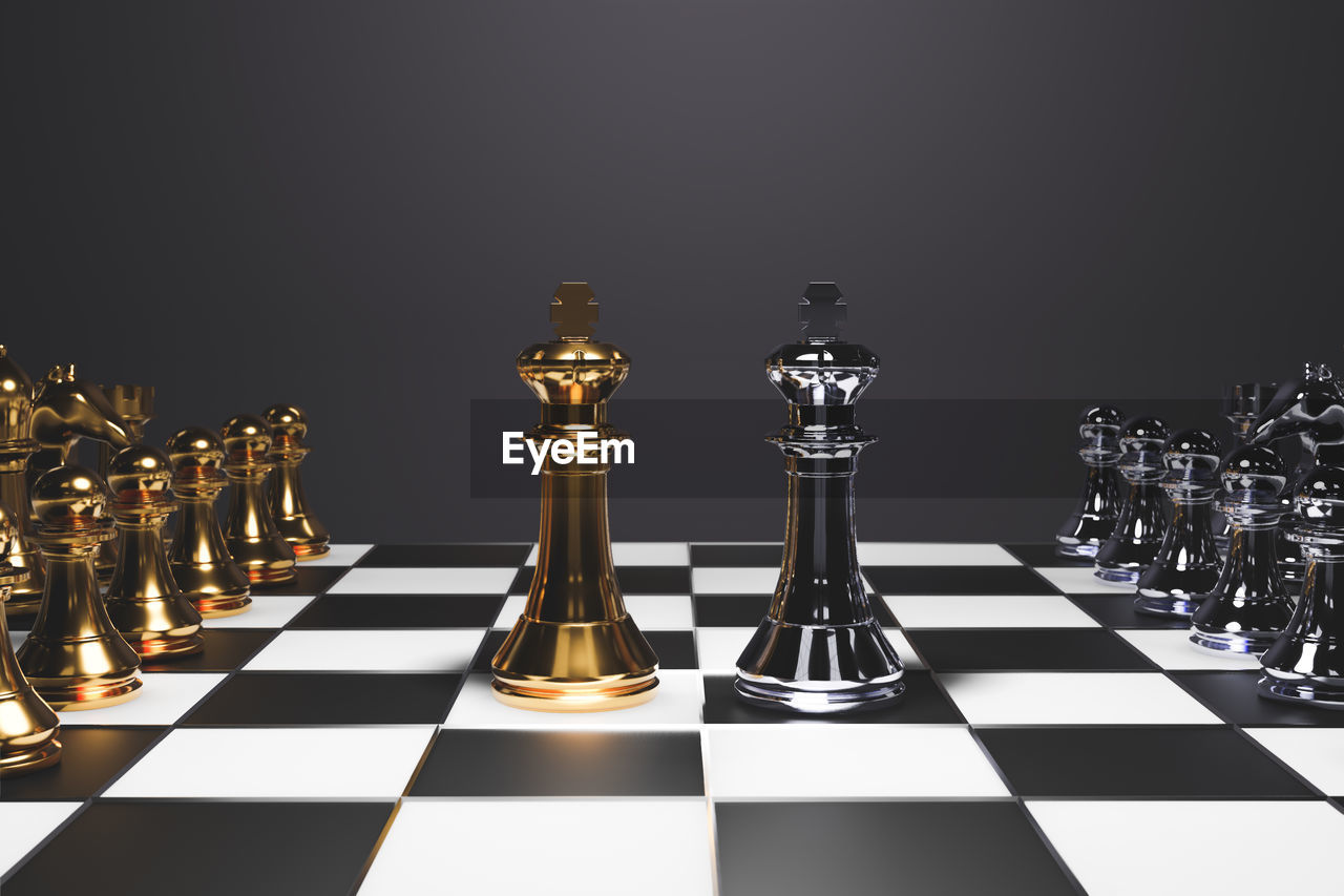 chess, game, board game, leisure games, chess board, chess piece, indoors, strategy, still life, checked pattern, king - chess piece, studio shot, relaxation, glass - material, no people, black background, leisure activity, close-up, large group of objects, queen - chess piece, pawn - chess piece, knight - chess piece