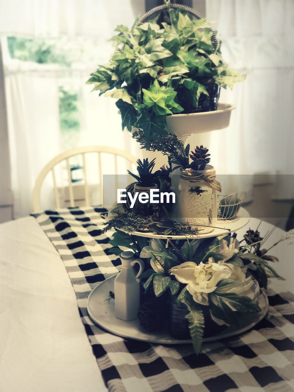 indoors, table, plant, no people, nature, flower, flowering plant, potted plant, food and drink, decoration, vase, furniture, home interior, food, freshness, still life, close-up, day, focus on foreground, cup, tray