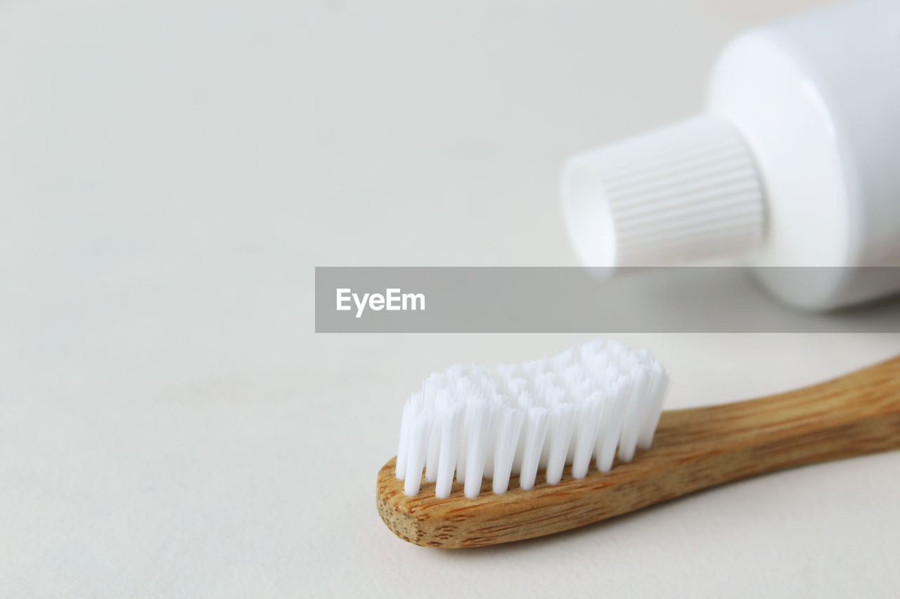Close-Up Of Toothbrush Against White Background
