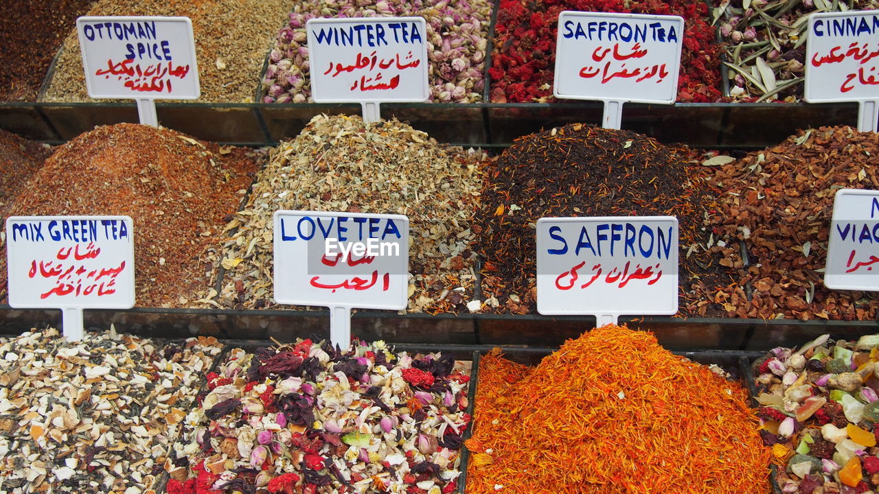 High angle view of spices at market stall for sale