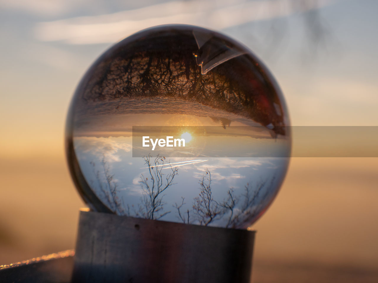 transparent, sky, glass - material, sphere, close-up, sunset, nature, crystal ball, reflection, no people, focus on foreground, outdoors, upside down, water, ball, scenics - nature, day, land, selective focus
