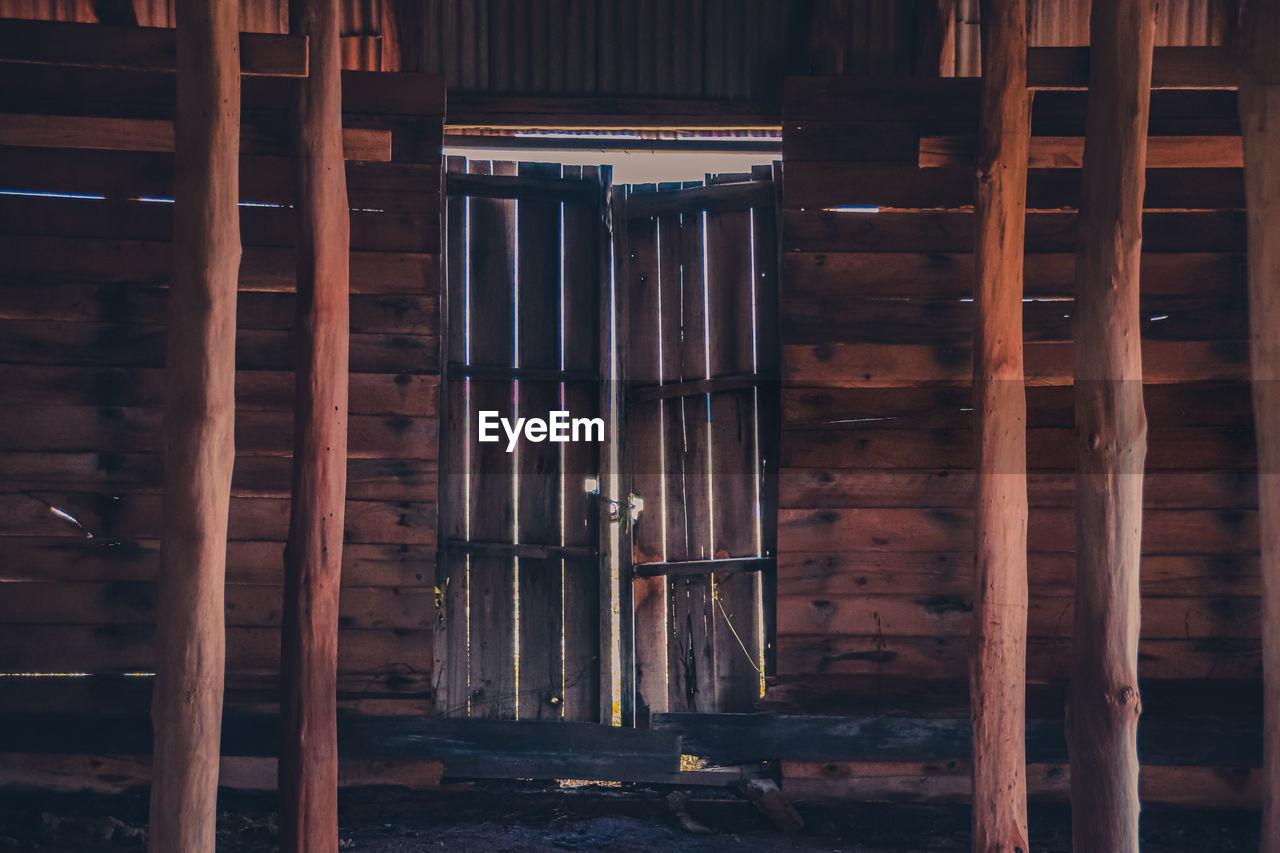 Full frame shot of wooden structure of barn house