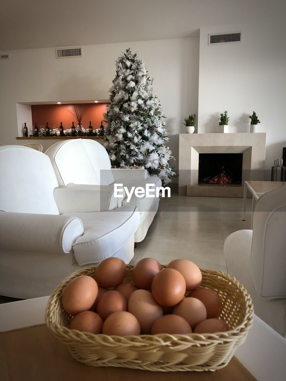 indoors, table, home interior, egg, sofa, chair, no people, living room, domestic life, christmas, home showcase interior, day