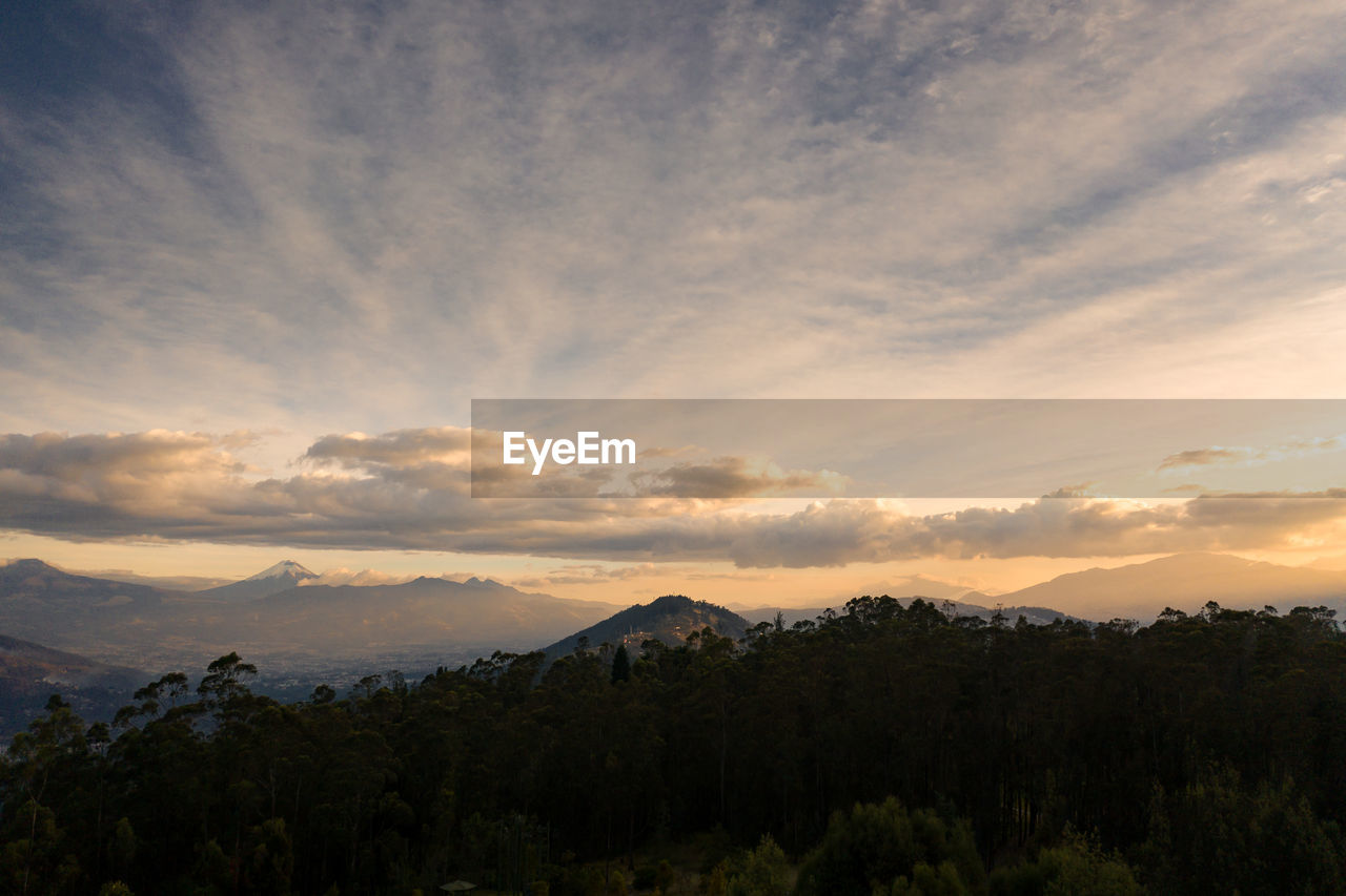 sky, beauty in nature, scenics - nature, cloud - sky, tranquility, tranquil scene, sunset, mountain, tree, idyllic, plant, non-urban scene, no people, nature, landscape, environment, growth, orange color, mountain range, outdoors
