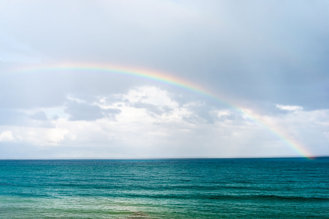 rainbow, beauty in nature, sea, sky, scenics - nature, water, horizon over water, horizon, cloud - sky, tranquility, tranquil scene, no people, nature, idyllic, multi colored, double rainbow, waterfront, day, outdoors