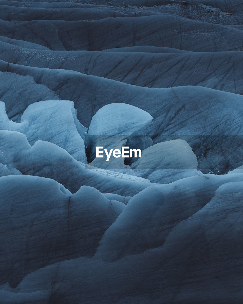 High angle view of frozen landscape