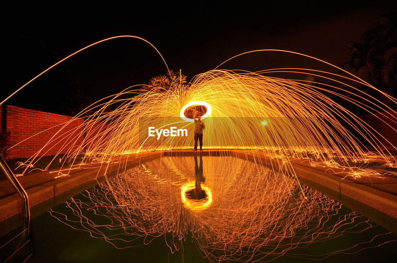 Person With Spinning Steel Wool