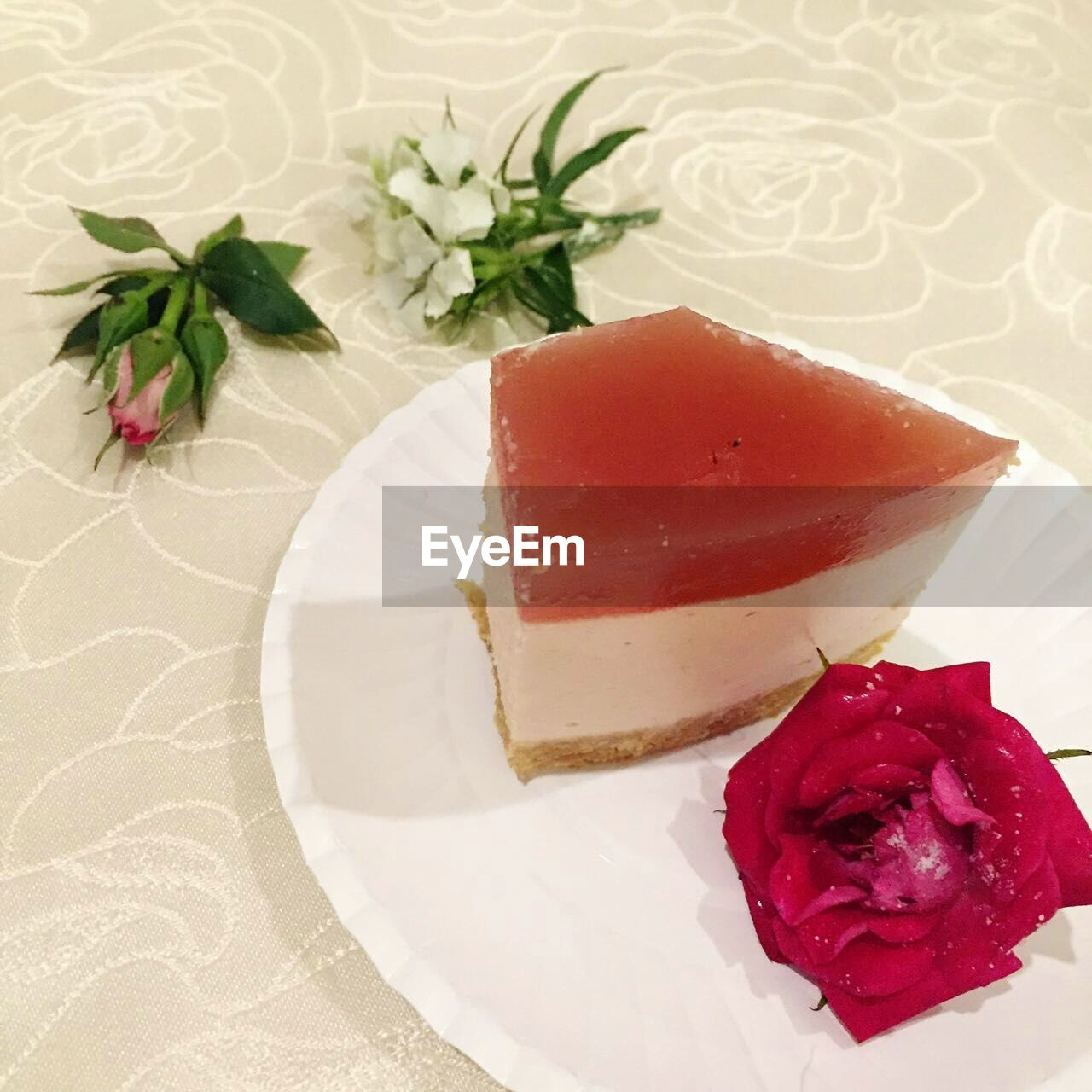 food, food and drink, flower, freshness, indoors, rose - flower, plate, table, serving size, no people, ready-to-eat, red, close-up, healthy eating, day