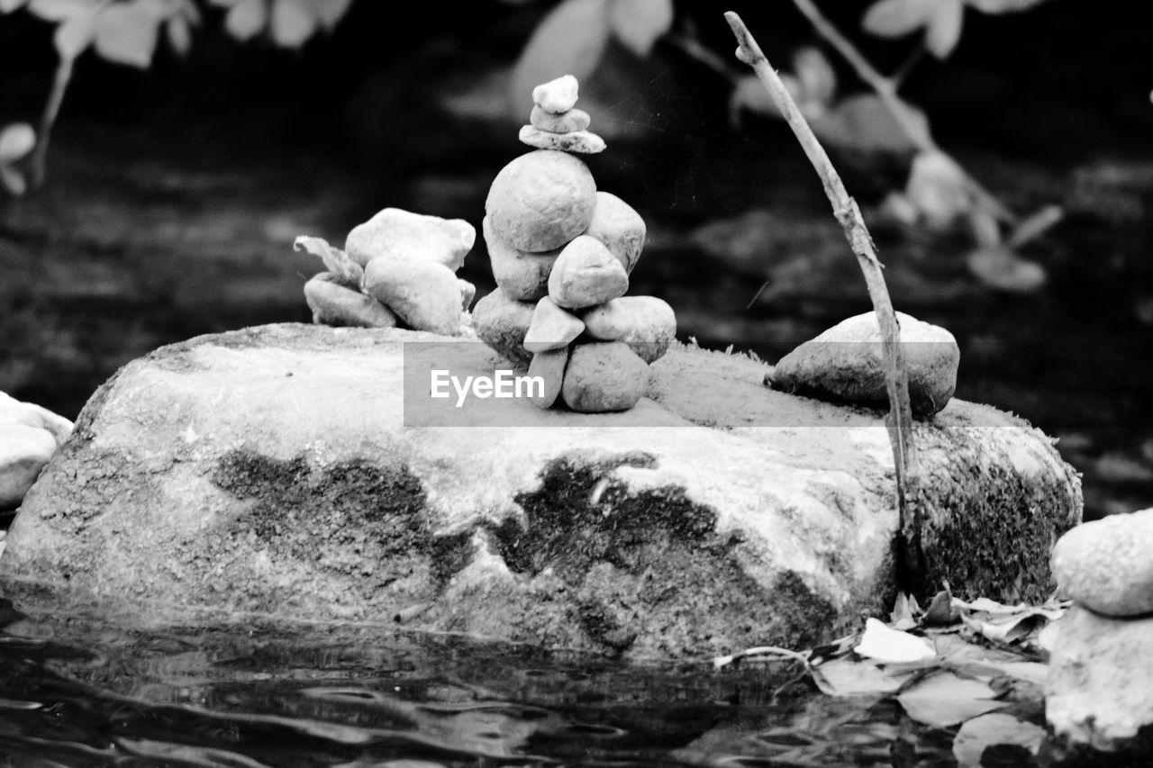 rock, solid, rock - object, focus on foreground, no people, nature, close-up, day, water, stone - object, outdoors, selective focus, stack, growth, plant, stone, land, tranquility, zen-like, flowing water, purity