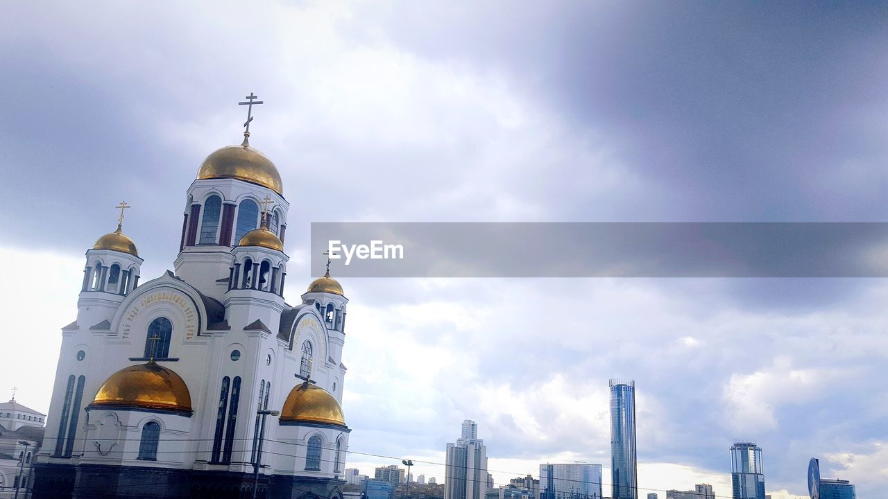 religion, place of worship, architecture, spirituality, cloud - sky, dome, built structure, sky, low angle view, building exterior, day, no people, outdoors