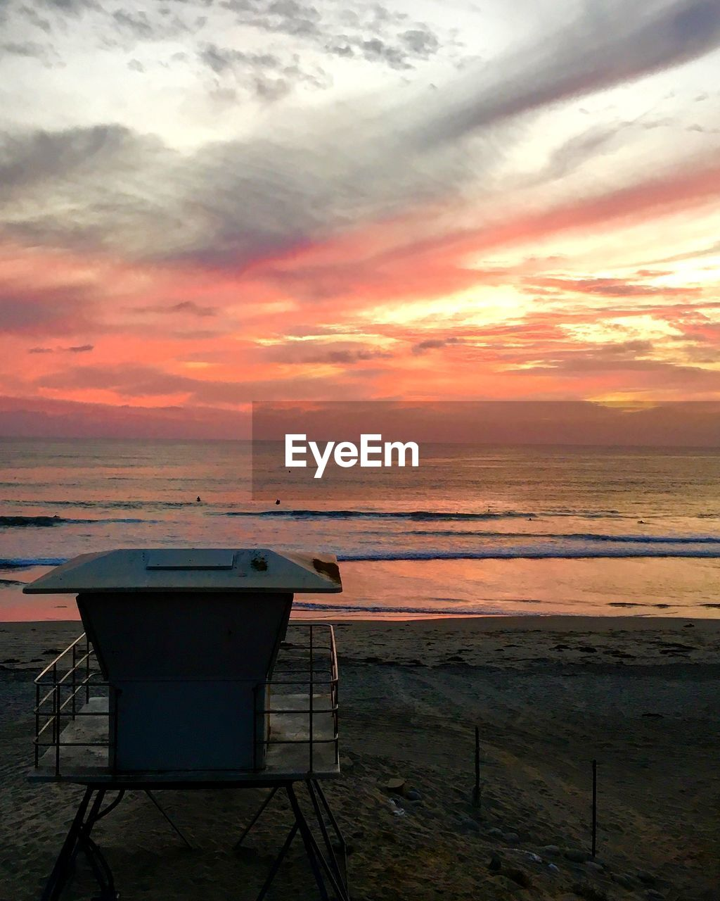 sky, sea, cloud - sky, sunset, water, horizon over water, beauty in nature, scenics - nature, horizon, beach, orange color, land, nature, tranquility, tranquil scene, no people, seat, chair, table, outdoors