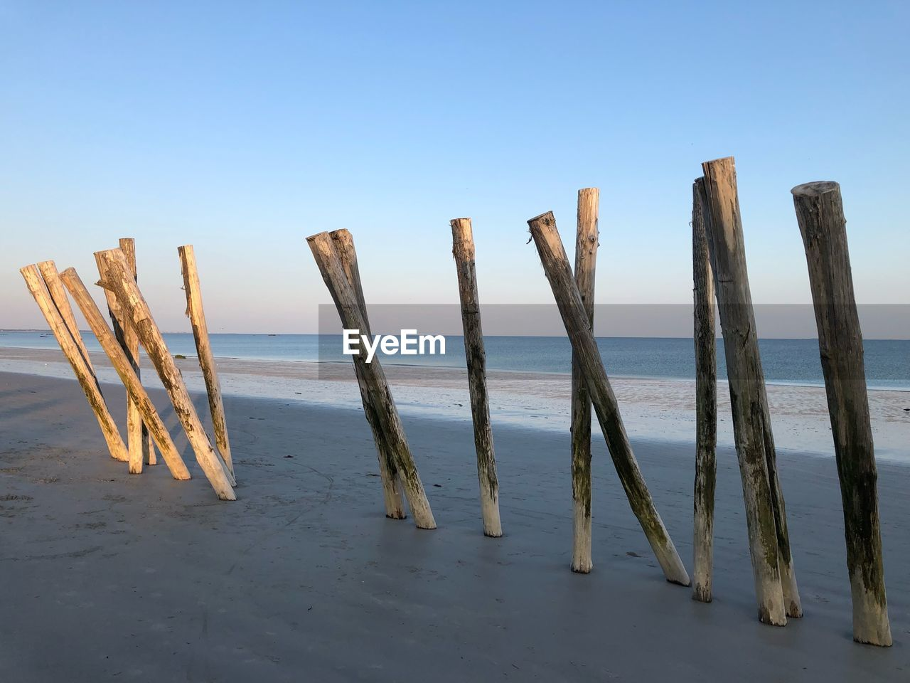 wood - material, sky, sea, water, wooden post, tranquility, beach, post, tranquil scene, scenics - nature, clear sky, horizon over water, no people, nature, beauty in nature, horizon, land, day, sand, outdoors