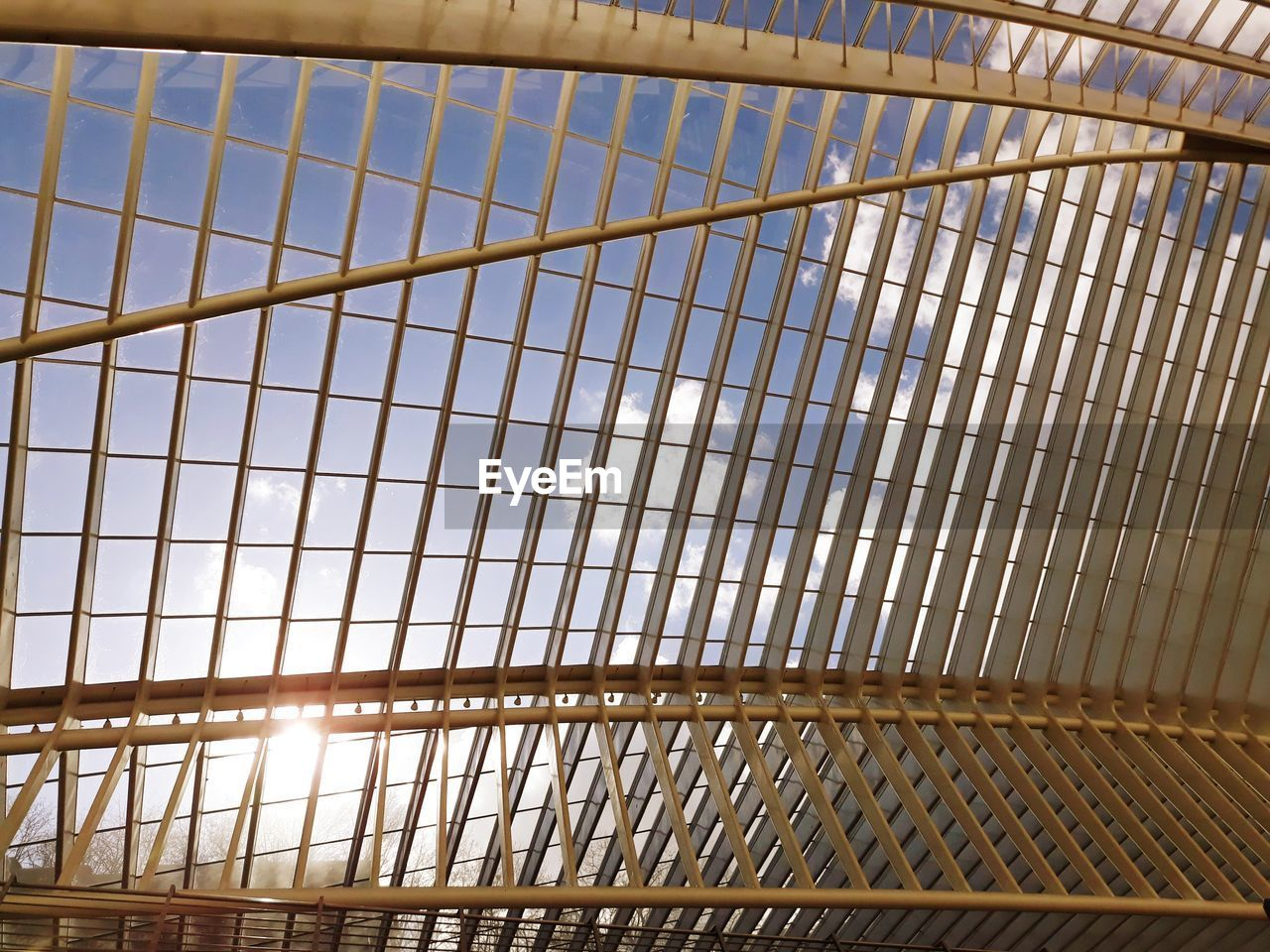 architecture, no people, metal, pattern, low angle view, indoors, built structure, modern, sunlight, ceiling, full frame, reflection, grid, sky, glass - material, day, backgrounds, nature